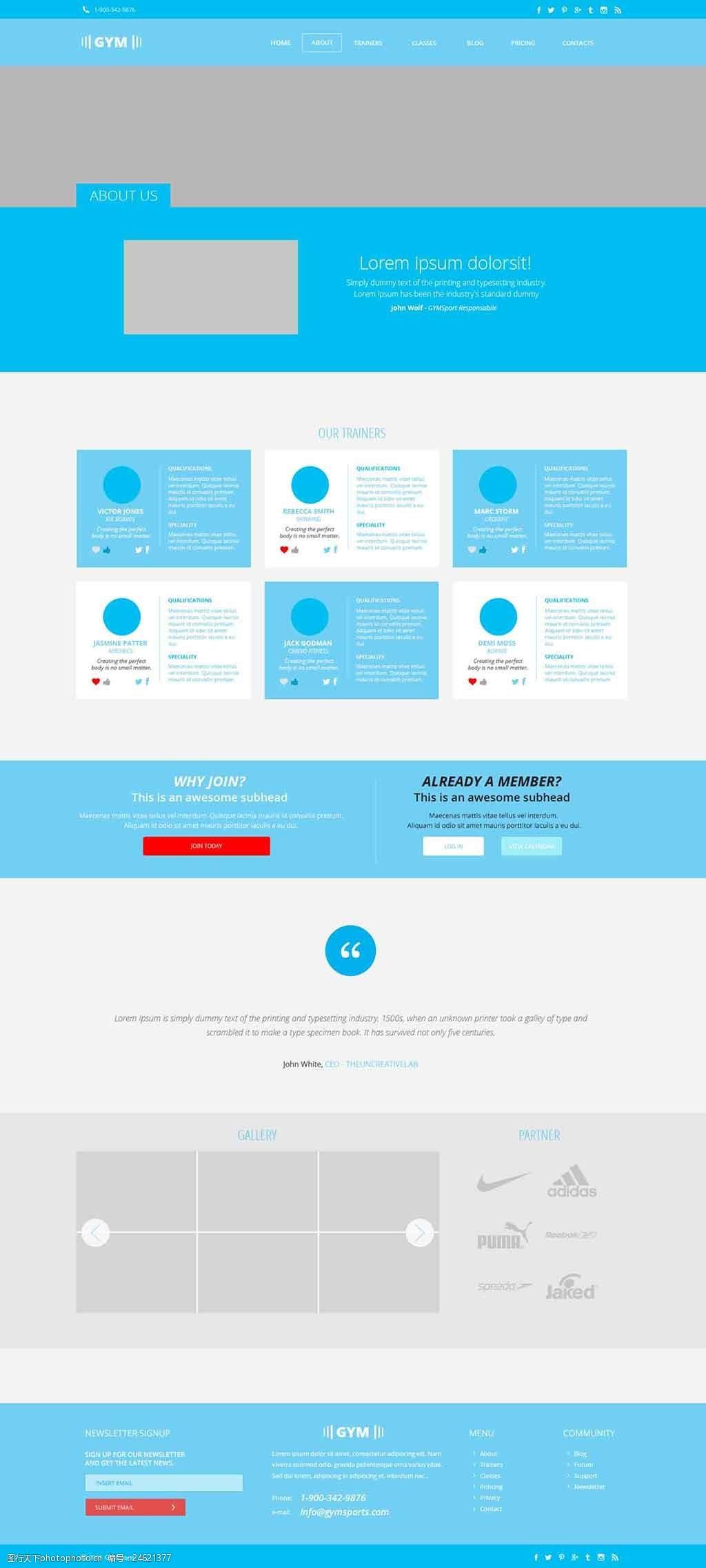 蓝色英文创意UI设计网站杨彬设计图片